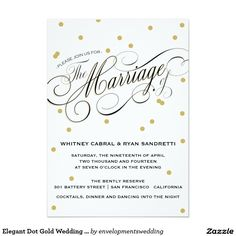 "Elegant Dot Gold Wedding Invitation 5"" X 7"" Invitation Card"