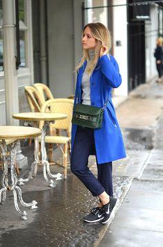 Blue jacket and Nike Free Run