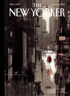 """Up for sale, the January issue ofThe New Yorker magazine pages). A colorful cover art for framing """"Twilight Avenue"""" by Pascal Campion. See scan of contents page. Front cover has no tears. Rustic Wall Sconces, Modern Wall Sconces, New Yorker Covers, The New Yorker, Graphic Design Posters, Graphic Design Typography, David Carson Design, Pascal Campion, City Drawing"""