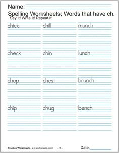 Printable Phonics Worksheets - Spalding Phonograms - Three Pages of words with the ch sound. Copy Three times each. See below.