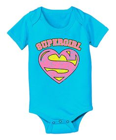 Another great find on #zulily! KidTeeZ Turquoise 'Supergirl' Bodysuit - Infant by KidTeeZ #zulilyfinds
