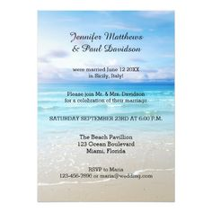 Colorful Beach Post Wedding Party Invitation