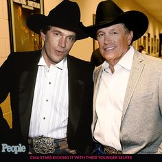 CMA Stars Kicking It with Their Younger Selves   GEORGE STRAIT    Strait has more CMA Awards nominations than any other artist, so what's his secret? Beautiful music and a classic, big-buckled look.