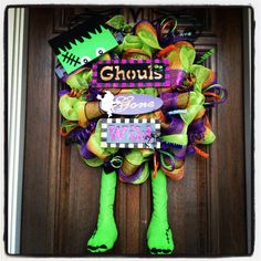 Say hello to Frankie!!! Super cute Halloween wreath by Sassy Cajun  http://m.facebook.com/Molly.Maung?id=248171268561772&_rdr