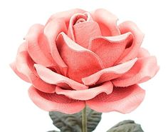 Long Stem Pink Leather Rose, Handmade Third Wedding Anniversary Gift. This beautiful life size leather rose is about 4.25 inches across and 18 inches tall. Leaves are made out of variegated leather in grass green and are embossed with realistic veins. Stem is flexible and can be bent. This stunning leather rose will make a perfect 3rd anniversary (traditional) or 9th anniversary (modern) gift.