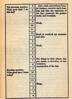 Daily schedule from The Autobiography of Benjamin Franklin, 1791