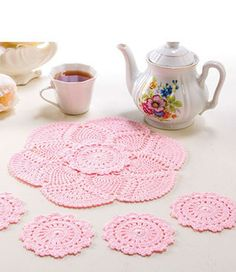 Try dying doilies pink. Crochet doily and coasters free patterns Crochet Thread Patterns, Crochet Doily Patterns, Crochet Squares, Knitting Patterns, Crochet Home, Crochet Crafts, Crochet Projects, Crochet Kitchen, Diy Crafts