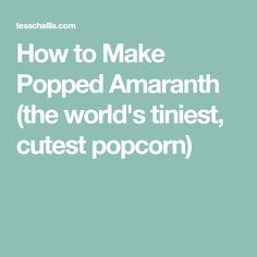 How to Make Popped Amaranth (the world's tiniest, cutest popcorn)