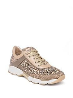 Rene Caovilla - Swarovski Crystal-Embellished Lace Sneakers