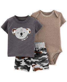 Carter's Baby Boys Cotton Koala Camo T-Shirt, Bodysuit & Shorts Set - Brown Striped Bodysuit, Bodysuit Shorts, Niñas Carters Baby, Baby Gap, Matching Friend, Camouflage Shorts, Camo Shorts, Short Tops, Boy Clothing