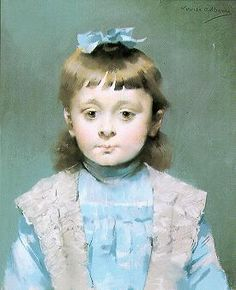 Louise Abbema Portrait of a Young Girl with a Blue Ribbon,