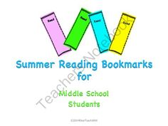 Summer Reading Bookmarks from UniqueProducts on TeachersNotebook.com -  (8 pages)  - Summer Reading Bookmarks