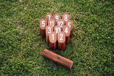 DIY Molkky lawn game