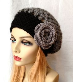 Gorgeous Slouchy Beret. Girls, Teens or Women's Hat. Two colored Hat. Charcoal Gray and Black (shown). Or PICK YOUR COLOR. Chunky. Hand-crocheted