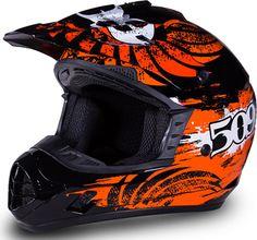 509 Snocross Helmet - BLACK-ORANGE - Front View