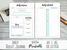 Printable daily bullet journal daily log daily planner