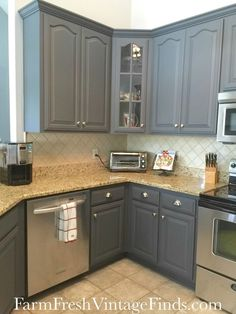 "Queenstown Gray Milk Paint Available in 26 colors, General Finishes Milk Paint is a high quality interior/exterior pre-mixed paint. Not a true ""casein based milk paint"" but a modern versi - Cheap Kitchen Cabinets Tips General Finishes Milk Paint, New Kitchen, Farmhouse Kitchen Cabinets, Kitchen Paint, Painting Kitchen Cabinets, Kitchen, New Kitchen Cabinets, Diy Kitchen, Kitchen Cabinets Makeover"