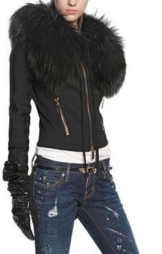 ★★★★★ five stars (black coat with black fur trim, black leather rhinestone gloves, dark wash splatter jeans, black belt, white tee)