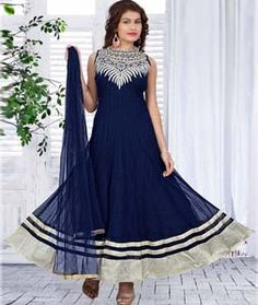Buy Navy Blue Net Readymade Anarkali Suit 72149 online at lowest price from huge collection of salwar kameez at Indianclothstore.com.