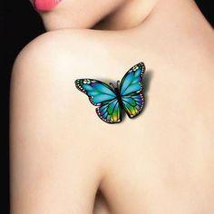 waterproof temporary tattoo tatoo henna fake flash tattoo stickers Taty tatto tatuagem tattoos tatuajes 2016 new style Realistic Butterfly Tattoo, Blue Butterfly Tattoo, Butterfly Tattoo Designs, Tattoo Designs For Girls, Butterfly Tattoos For Women, Colour Tattoo For Women, Butterfly Tattoo On Shoulder, Purple Butterfly, Tatoo Henna