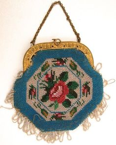Super Heptagonal 19th C Coin Purse, Roses