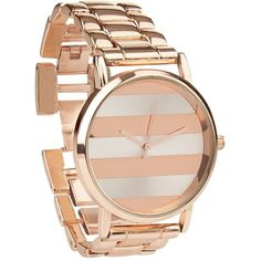 Rose Gold Stripe Face Sports Watch ($31) ❤ liked on Polyvore featuring jewelry, watches, rose jewelry, pink gold jewelry, red gold jewelry, pink gold watches and rose watches