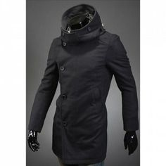 Fashion Slimming Hooded Zipper Design Button Embellished Long Sleeves Woolen Windbreaker For Men (BLACK,M)   Everbuying.com