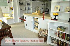 DIY barn door tutorial for built in cabinet via Jessica @fourgenerationsoneroof.com