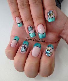 Unhas decoradas com flores e borboletasshort and slim tall Nail Art For Kids, New Nail Art, Pedicure, Nail Manicure, Burgundy Nails, Blue Nails, Finger, Toe Nail Designs, Super Nails