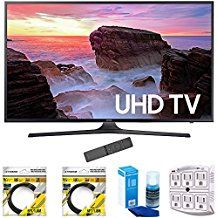 Samsung 74.5-Inch 4K Ultra HD Smart LED TV 2017 Model (UN75MU6300) with 2x 6ft High Speed HDMI Cable Screen Cleaner for LED TVs & Stanley 6-Outlet Surge Adapter with Night Light