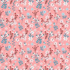 Flower Pastel Color Seamless Pattern With Pink Background