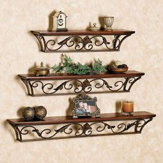 Wooden Iron Wall Shelf Wall Bracket Floating Wall Shelves Set of 3 for Home Deco Metal Decor, Wall Decor Design, Wall Shelf Decor, Wrought Iron Decor, Wooden Wall Shelves, Home Decor, Iron Wall, Iron Wall Decor, Iron Decor
