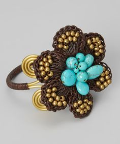 Take a look at this Brown & Turquoise Stone Flower Bracelet on zulily today!