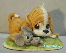 Lefton China Hand Painted 01316 Porcelain Brown White Puppy Dog Mouse Figurine