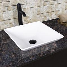 Vigo Matira Composite Vessel Sink And Seville Bathroom Vessel Faucet In  Matte Black, White