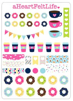 Coffee & Donuts Stickers for your Planner, scrapbook, calendar, etc.