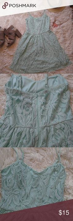 Mint lace dress Rock summer vibes in this mint lace sundress with sweetheart neckline. Size small.  Excellent condition only worn once   32 in. L Dresses Mini