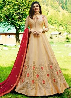 b98cac8636 Buy Beige Prachi Desai Silk Anarkali Suit Online - Best Quality–Liinara  Designer Collection
