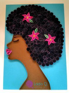 24,00 x 30,00 cm com moldura-caixa branca ou preta. Arte Quilling, Origami And Quilling, Quilling Patterns, Quilling Designs, Black Women Art, Black Art, Alice In Wonderland Cross Stitch, African American Artwork, African Crafts
