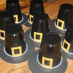 Preschool Crafts for Kids*: Thanksgiving Pilgrim Hat Cups Craft--this would be cuter with a black paper plate for the rim. Thanksgiving Art, Thanksgiving Crafts For Kids, Thanksgiving Activities, Thanksgiving Parties, Fall Crafts, Holiday Crafts, November Thanksgiving, Thanksgiving Appetizers, Thanksgiving Outfit