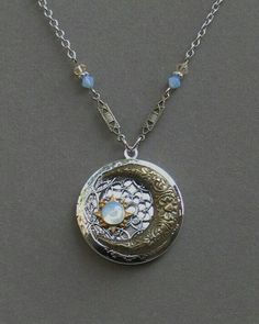Items similar to Silver Locket Necklace . Blue Moon And Stars . Jewelry By BlissDayDesigns on Etsy Cute Jewelry, Jewelry Box, Jewelry Accessories, Jewelry Making, Unique Jewelry, Jewlery, Yoga Jewelry, Silver Locket Necklace, Silver Lockets
