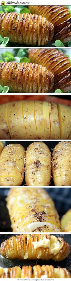 "Sig's  Humbles ( hasselback potatoes)! 4.67 stars, 15 reviews. ""Thank you all for trying these and your feed back.  I was asked the other day about the size of potato to ensure an even cooking . I use Middle finger long potatoes  that are about the with of a thumb and the hight of 3/4 of a thumb. This dish originates from Sweden , the potatoes  are named after the town Hasselbaken. I ate them when visiting as a student.  If you like roast , fried or twice baked potatoes  you propably will…"