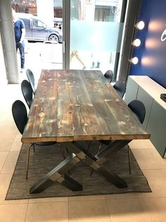 Board room table with blue tint by rusty wood... industrial chic reclaimed