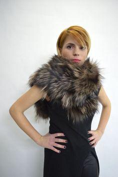5515d3c1a Real fox / Swakara fur cowl, wrap, collar, loop scarf, genuine fox fur  infinity scarf pelt, brown fox fur shawl, real fur neck warmer