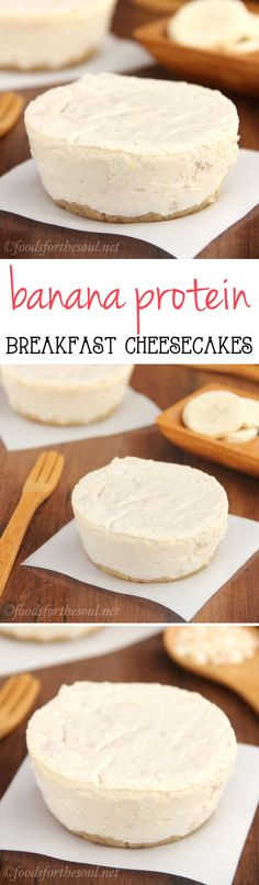 Banana Breakfast Cheesecakes -- packed with grams of protein & NO refined sugar!Skinny Banana Breakfast Cheesecakes -- packed with grams of protein & NO refined sugar! Breakfast Cheesecake, Breakfast Desayunos, Breakfast Recipes, Dessert Recipes, Breakfast Healthy, Banana Cheesecake, Breakfast Ideas, Protein Cheesecake, Cake Recipes