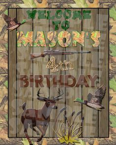 Printable HUNTING PARTY SIGN Hunting by ShinySparklyParties Hunting Themed Birthday Party Decor