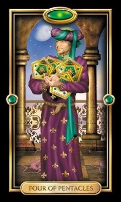 Gilded Tarot  By: Ciro Marchetti You possess a certain amount of resources. And you've become possessive of them. You are hoarding your money, your time, your abilities. You've lost sight of what these things are for and you face a lonely, unfulfilled future unless you use your resources wisely.