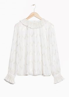 & Other Stories image 1 of Frill Collar Metallic Blouse in Off White