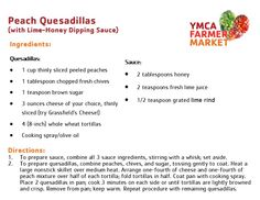 Peach Quesadillas - w/Lime-Honey Dipping Sauce - YMCA Farmers Market 2014
