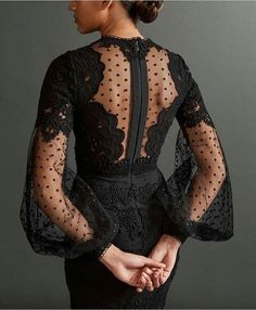 Black fluted sleeve with polka dot dress and lace detail – dresses Trendy Dresses, Elegant Dresses, Beautiful Dresses, Nice Dresses, Fashion Dresses, Dresses With Sleeves, Gorgeous Dress, Lace Sleeves, Look Fashion
